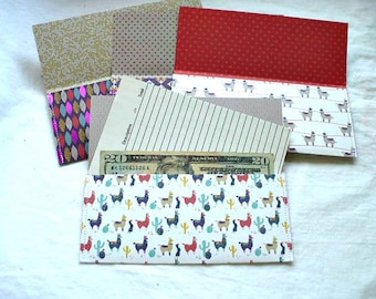 Coupon Holder Envelopes Organizer, Llama and Woven Pattern, Receipt Envelope Pouch, Set of 4, Hand Stitched, 3.25 x 7 Inch, Grocery List