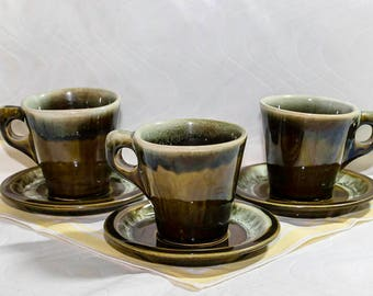 Vintage Pfaltzgraff Green Drip Glaze Pottery Coffee Cup w/ Saucer