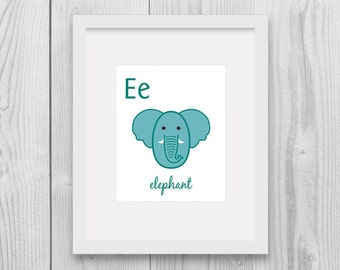 ABC nursery alphabet - E for Elephant Nursery animal Printable wall decor home decor Instant download Animal art Nursery decor