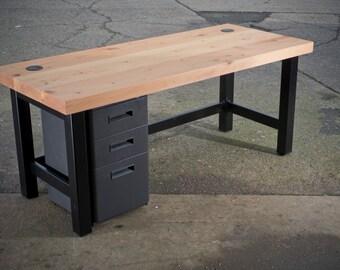 Reclaimed wood slab Desk with metal legs