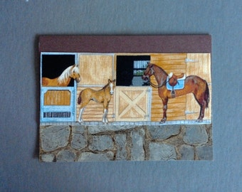 Horse Stable with Foal Hand Made Card