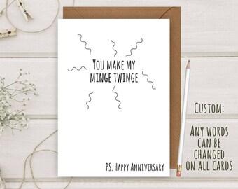 Funny Rude Minge Twinge Anniversary Greeting Card First Husband Wife A5 Girlfriend Boyfriend Lesbian LGBT Personalise