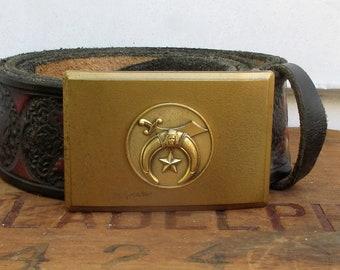 Vintage Solid Brass Shriners Belt Buckle with Hand Tooled Floral Leather Belt