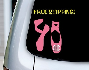Custom Ballet Slippers Monogram Decal - Multiple Color & Size Options Available!