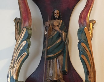 Religous Niche (Nicho) with Saint Joseph - Wood Hand Crafted Saint and Niche - Mexico Religious Folk Art - Retablo