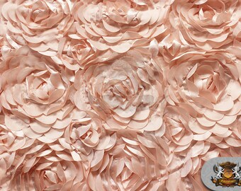 """Satin Bridal Petal Rosette Floral Fabric Peach / 52"""" Wide / Sold by the yard"""