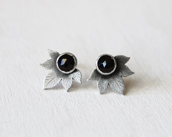 Sterling Silver Wallpaper Leaf Earrings with 5mm Rose Cut Black Spinel. Edgy Statement Earrings. Chicago Textile Design Inspired.