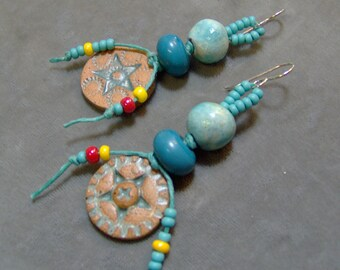 Ceramic and Lampwork Beaded Earrings-Artisan Earrings-Artisan Lampwork and Ceramic Earrings with Waxed Linen Cording-Cowgirl Style-SRAJD