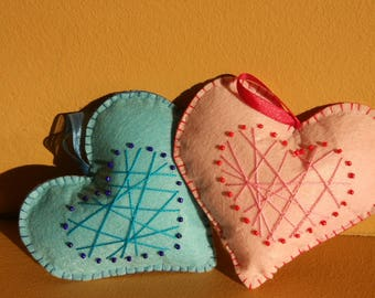 Two felt hearts  with contrast applique