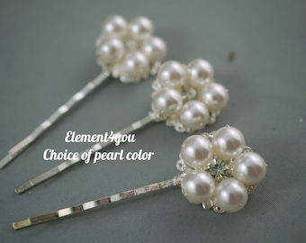 Pearl bobby pins, Bridal Hair pins, Hair piece, Flower girl, Bridesmaid gift, Wedding hair accessories, Beaded pins, Pearl hair clips