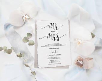 Wedding Invitation Template, Wedding Invitation Printable, Wedding Invite, Editable Invitation, Mr Mrs Wedding Sign, Wedding Invites
