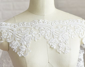 Width 5.51 inches milk white lace trim,Beaded flowers embroidered lace,floral lace trim for bridal veil,trim lace with Sequins(45-181)
