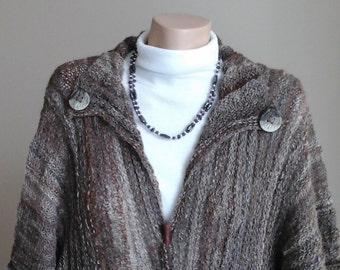 Handspun handknit Suri Alpaca Coat.Multi coloured