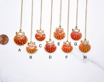 24k Gold-Dipped Vibrant Red/Orange Sunrise Shell Necklace