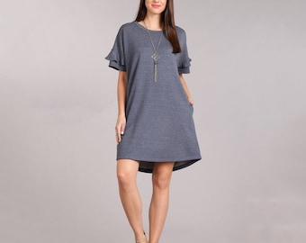 Soft Ruffle Sleeve Dress | S-3X | Women's clothing, navy, pink, black, plus size, modest, office, work, outfit, solid, knee high, round neck