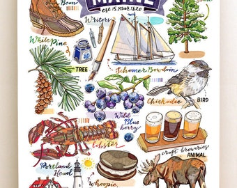 Maine State Print. Illustration. The Pine Tree State.