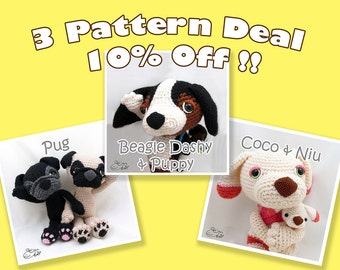PDF Amigurumi / Crochet Pattern Special 3-Pattern Deal: Amigurumi Pug, Coco and Niu, Beagle Dashy and his baby CPD-16-3316
