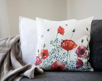 Poppy flower pillow, blooming poppies on white linen pillow.