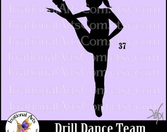 Drill Dance Team Silhouettes Pose 37 - 1 EPS & SVG Vinyl Ready files and 1 PNG digital file and commercial license [Instant Download]