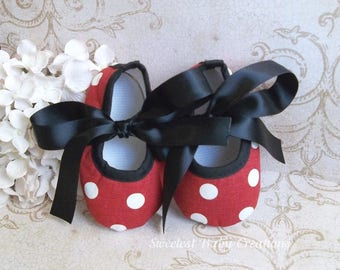 Polka Dot Minnie Mouse Shoes - Red and Black Minnie Mouse Outfit - Minnie Mouse Polka Dot Shoes - Minnie Mouse 1st Birthday Outfit