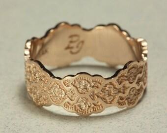 Lace Rose Gold Wedding Ring, 14K Rose Gold Wedding Band, Anniversary Gold Ring, 14K Gold Wedding Band,Rose Gold Wedding Ring, Size 6.75