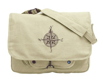 Nauticus - Compass Rose Embroidered Canvas Messenger Bag