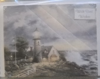 Handmade beautiful 3d Thomas Kinkade's 'light in storm' large best wishes card