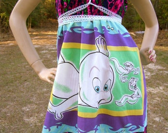 Casper Ghost Dress OOAK Upcycled Convertible Geek Sundress Cruise Resort Vintage Sheet Fabric Pink Teal Purple Maternity Adult M L XL Size