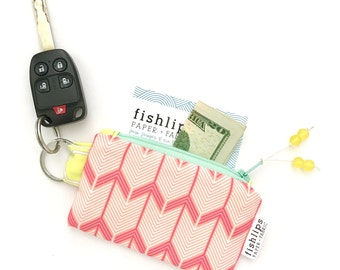 Chevron Arrows Recycled Key-chain Coin Purse, Geometric Mini Zipper Pouch, Hot Pink Business Card Case, Handmade Pouch, Coral Gift for Girls