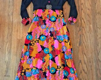 Vintage 60s 70s Long Sleeve Empire Waist Floral Maxi Bohemian Hippie Boho Dress M/L