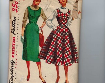 1950s Vintage Sewing Pattern Simplicity 4808 Misses Jumper Dress Slim or Full Skirt Size 14 Bust 32 50s