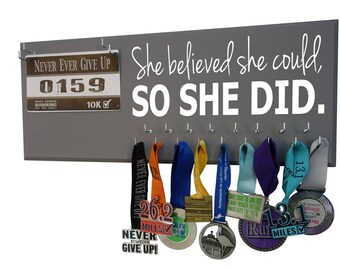Running medal hanger, Running Medal Holder and Race Bib Hanger RUNNING to have trained hard and finished the race. Now Show It Off