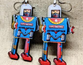 Toy Robot Earrings /  Handmade Wood Earrings / Handmade Jewelry / Retro Robot / Vintage Robot / Hypoallergenic / Stainless Steel / Laser Cut