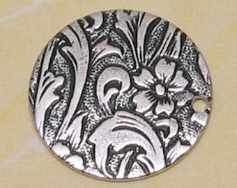 Embossed Disk Charm, Antique Silver, 4 Pc. AS89