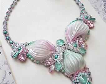 Swarovski Shibori Soutache Necklace, Shibori Necklace With crystals, Wedding Shibori Necklace, Wedding Shibori Jewelry