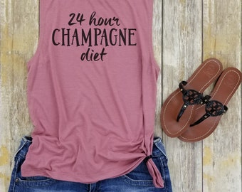 24 Hour Champagne Diet Tank Top, Champagne Tank Top, 24 hour Champagne Diet