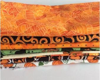 Fabric Material Stash Builder Halloween Pumpkin Orange Lot 9 Patterns Quilt Sew