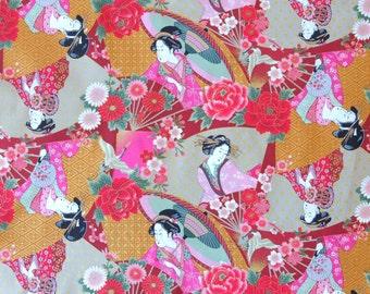 Ukiyoe Geisha Kimono Lady Maroon Japanese Cotton Fabric Per 50cm TG11