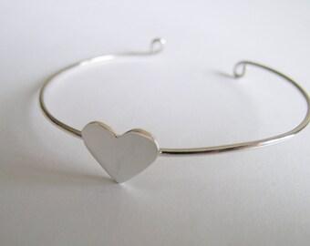 Sterling Silver Bracelet -  Heart Bracelet - Silver Heart Bracelet - Silver Cuff - Heart Bracelet in Handmade