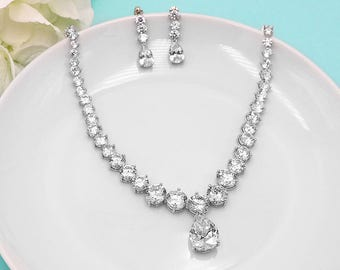 Wedding Jewelry Set, pear cubic zirconia CZ jewelry, silver crystal wedding necklace set, cubic zirconia set, Kelly Round Jewelry Set
