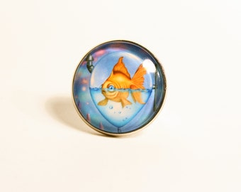 "Ring with goldfish in balloon, print of ""The journey"" arist by Susann Brox Nilsen. Adjustable, nickelfree, surrealism, pop art, for her"