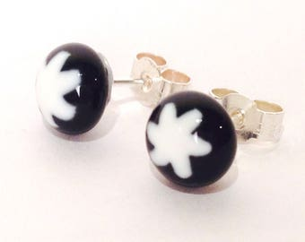 Murano Glass Millefiori Stud Earrings - Black and White Star on Sterling Silver Stud Post