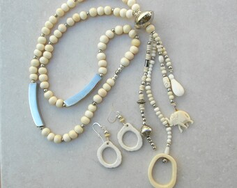 Long Elephant Dangle Necklace, Bone Elephant & Beads, Dear Antler Hoops, Silver Tubes and Beads, Necklace Set by SandraDesigns