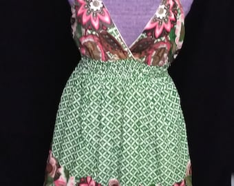 Vintage Cotton Print Sundress Made in India
