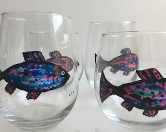 Painted  Stemless Wine Glasses  - Impressionistic Rainbow Trout