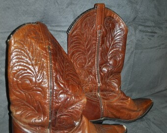 Vintage Acme Leather Boots. British Tan Soft Leather. 1980's.