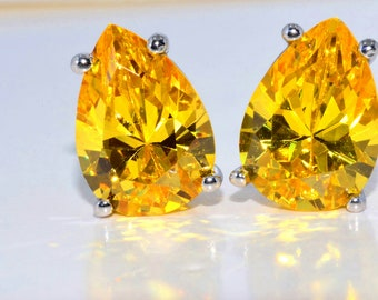 White Gold 4 Carat Yellow Citrine Pear Stud Earrings .925 Sterling Silver Rhodium Finish