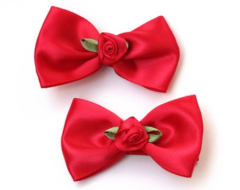 Valentine Hair Bow. Basic Red Satin Hairbow With Red Rose. Toddler Girls Valentine's Day Hairclips Set of 2. Baby Hair Clips With Grips