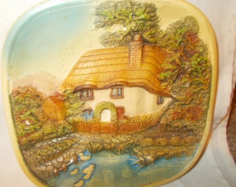 High Relief Chalkware Plaque Legends Products English Countryside Scene English Cottage Duck Marsh Hedgerow Garden Arch