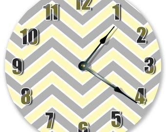 "10.5"" Gray Yellow Chevron Clock - Zigzag Clock - Living Room Clock - Large 10.5"" Wall Clock - Home Décor Clock - 3368"